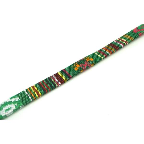 1m Lanière Ethnique En Coton Tissé 10mm - Couleur Multicolore Dominante Vert - Photo n°3