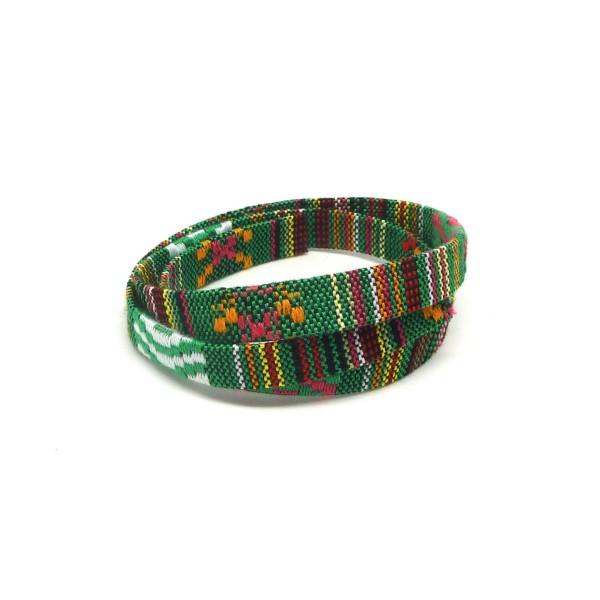 1m Lanière Ethnique En Coton Tissé 10mm - Couleur Multicolore Dominante Vert - Photo n°1