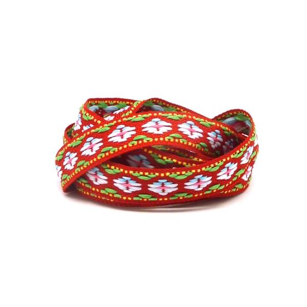 1m Ruban Ethnique Tissé De Largeur 12mm Motif Triangle Azteque De Couleur Rouge, Blanc, Vert, Rose - Photo n°1