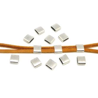 15 Perles Passant Rectangulaire Pour Lanière De 7mm En Métal Argenté Lisse - Slide Argenté