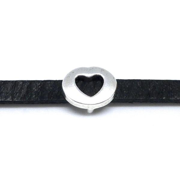10 Perles Coeur En Métal Argenté Slide Pour Lanière De 6mm - Photo n°3