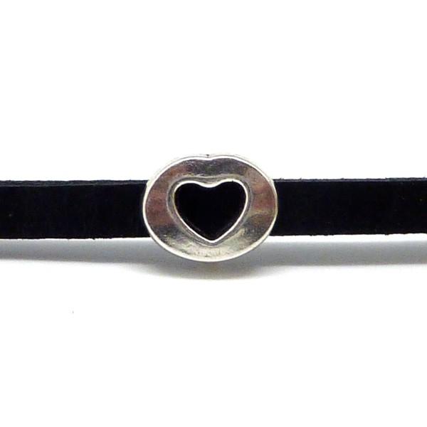 10 Perles Coeur En Métal Argenté Slide Pour Lanière De 6mm - Photo n°4