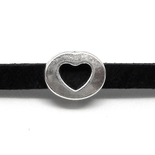 10 Perles Coeur En Métal Argenté Slide Pour Lanière De 6mm - Photo n°1