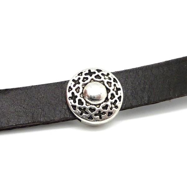 5 Perles Passant Gravé En Métal Argenté Pour Lanière Cuir 10mm - Photo n°1