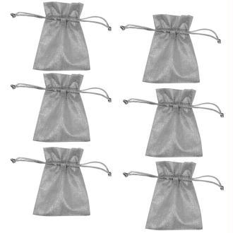 Sachet cadeau en lurex argent 11,5 x 9 cm - 6 pièces