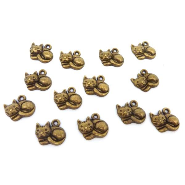 4 Breloques, Pendentifs Petit Chat Paisible 12,7mm En Métal Bronze - Photo n°2