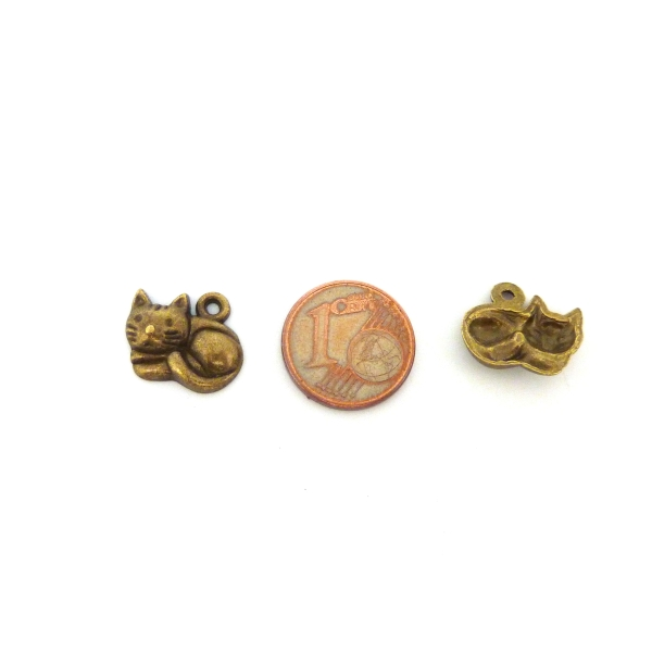 4 Breloques, Pendentifs Petit Chat Paisible 12,7mm En Métal Bronze - Photo n°3