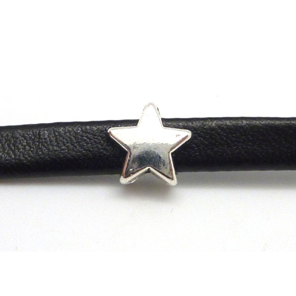 10 Perles Passant Étoile Pour Lanière Cuir 6mm En Métal Argenté Lisse - Photo n°2