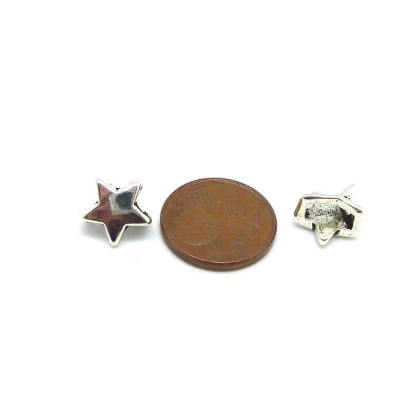 10 Perles Passant Étoile Pour Lanière Cuir 6mm En Métal Argenté Lisse - Photo n°3