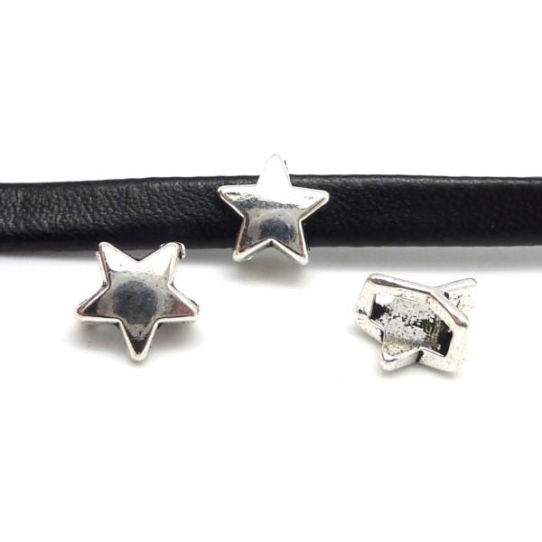 10 Perles Passant Étoile Pour Lanière Cuir 6mm En Métal Argenté Lisse - Photo n°4