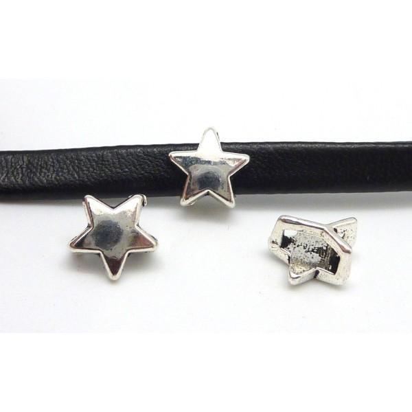 10 Perles Passant Étoile Pour Lanière Cuir 6mm En Métal Argenté Lisse - Photo n°1