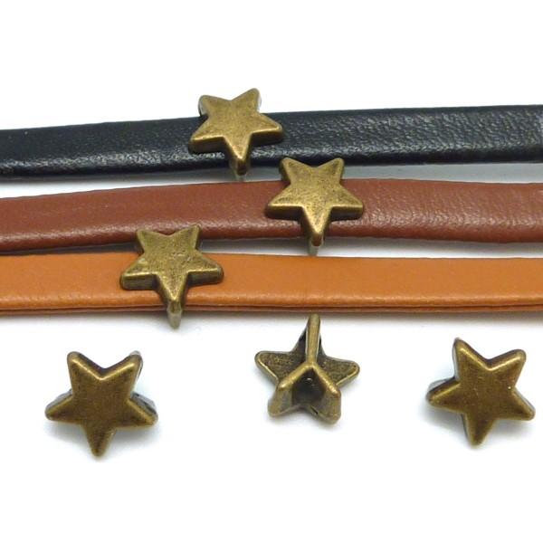 10 Perles Passant Étoile Pour Lanière De 6mm Métal Couleur Bronze - Photo n°2