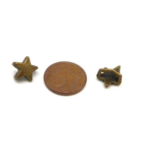 10 Perles Passant Étoile Pour Lanière De 6mm Métal Couleur Bronze - Photo n°3