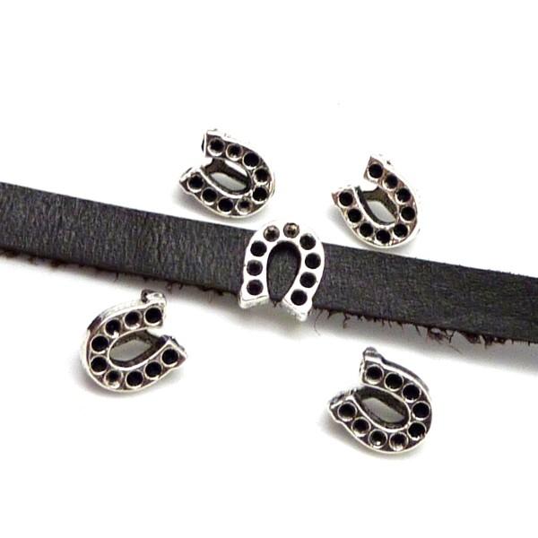 R-10 Perles Passant Fer À Cheval Pour Lanière De 7mm En Métal Argenté - Porte Bonheur - Photo n°2
