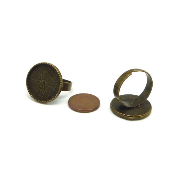 2 Supports Bagues Réglable Pour Cabochon Rond De 18mm En Métal De Couleur Bronze - Photo n°3
