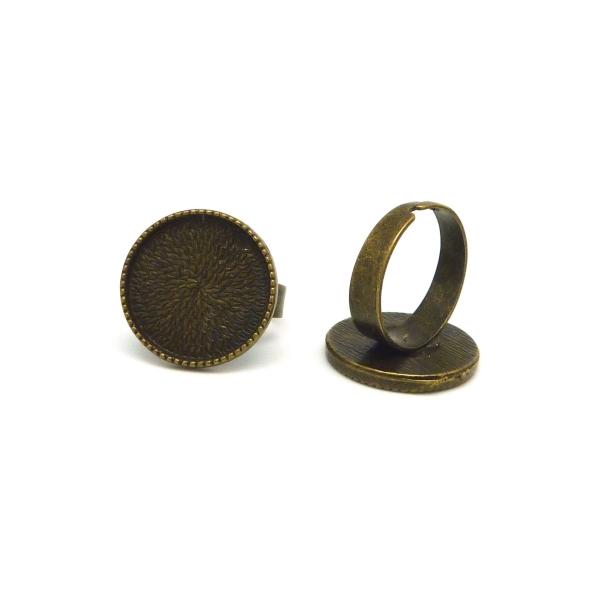 2 Supports Bagues Réglable Pour Cabochon Rond De 18mm En Métal De Couleur Bronze - Photo n°1