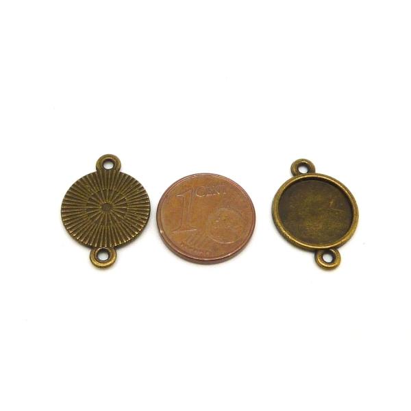 10 Supports Cabochon Connecteur Rond Pour Cabochon 12mm Métal De Couleur Bronze - Photo n°2