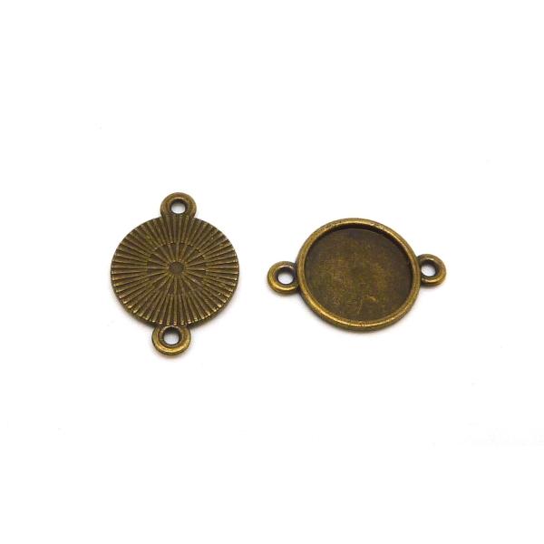 10 Supports Cabochon Connecteur Rond Pour Cabochon 12mm Métal De Couleur Bronze - Photo n°1