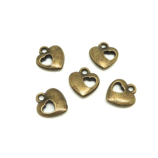 10 Breloques Coeur Légèrement Bombé Ajouré D'un Coeur En Métal De Couleur Bronze 12,2mm - Photo n°1