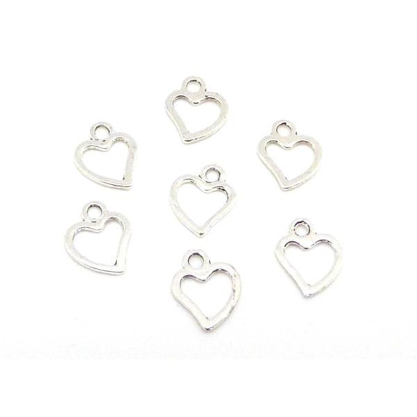 R-50 Petites Breloques Coeur Évidé En Métal Argenté - Photo n°1