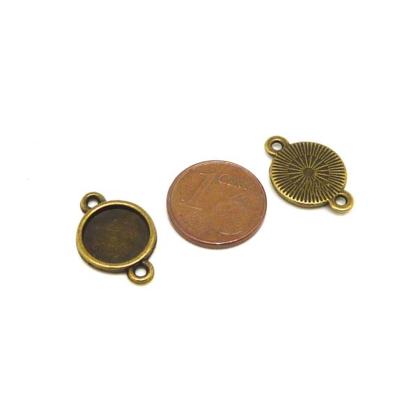 10 Supports Cabochon Connecteur Rond Pour Cabochon 10mm En Métal De Couleur Bronze - Photo n°2