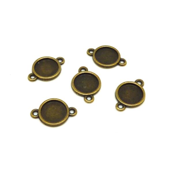 10 Supports Cabochon Connecteur Rond Pour Cabochon 10mm En Métal De Couleur Bronze - Photo n°1