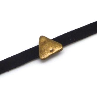 10 Perles Passant Triangle Slide Pour Lanière De 4mm En Métal De Couleur Bronze Martelé