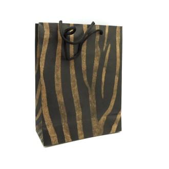 pochette cadeaux rayure multicolore patchwork sur fond noir n ud noi sac en kraft creavea. Black Bedroom Furniture Sets. Home Design Ideas