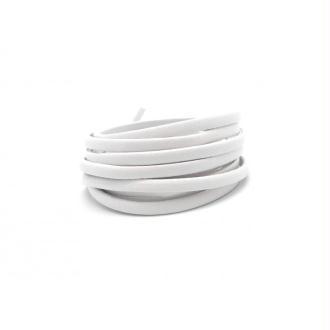 R-1,2m Lanière Simili Cuir 4mm De Couleur Blanc Légèrement Arrondi