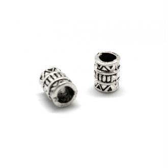 20 Perles Tube En Métal Argenté Travaillé à Gros Trou 3,6mm Style Ethni