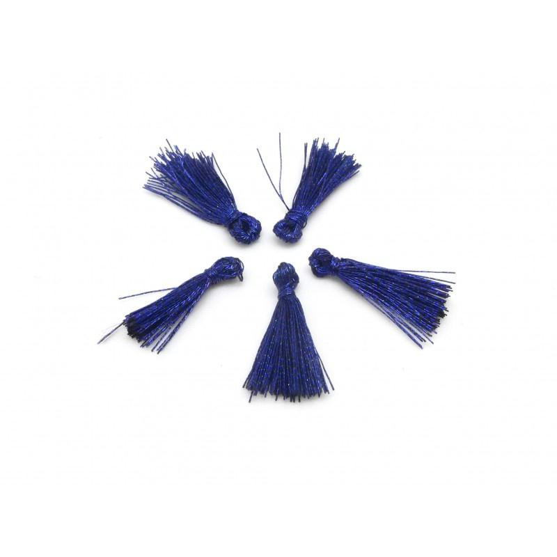5 mini pompons 1 5cm de couleur bleu nuit brillant en lurex pendentif pompon creavea. Black Bedroom Furniture Sets. Home Design Ideas