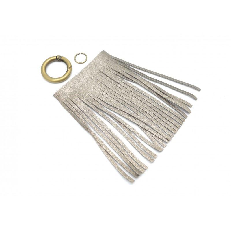 Kit bijoux de sac porte cl pompon simili cuir frange 10cm - Couleur porte et encadrement ...