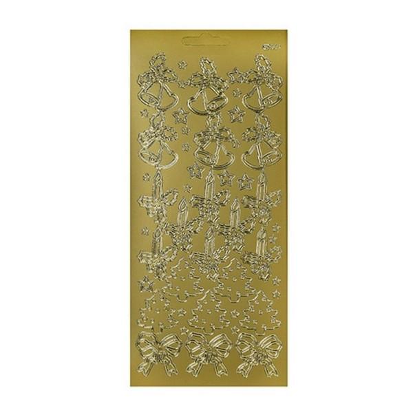 Sticker de contour doré, Motifs Sapin de Noël, Cloches, Rubans de Houx, Planche relief 10x23cm - Photo n°1