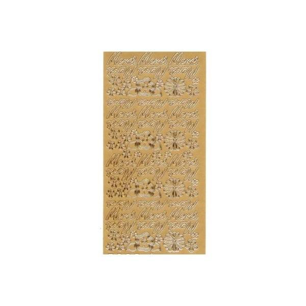 Sticker de contour, Ecriture Merci et Fleurs - Photo n°1