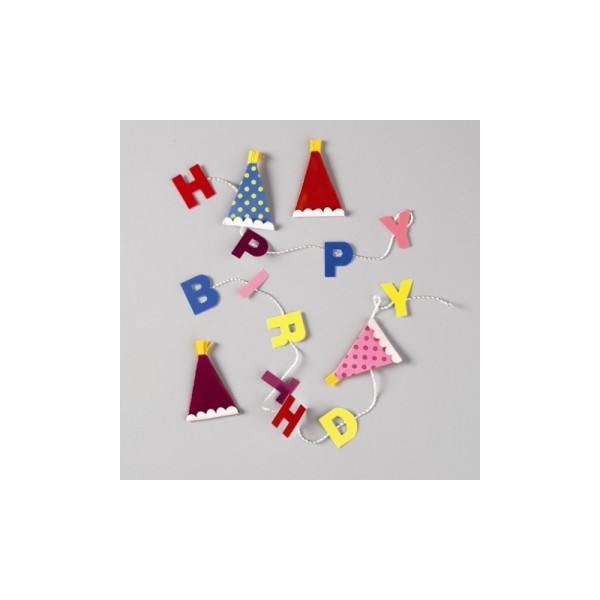 Stickers 3D Jolee's Happy Birthday, 2 banderoles et 4 chapeaux - Photo n°1