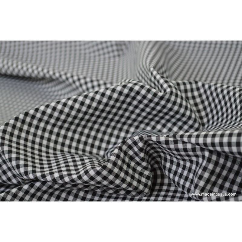 tissu vichy polyester coton noir et blanc x1m tissu. Black Bedroom Furniture Sets. Home Design Ideas