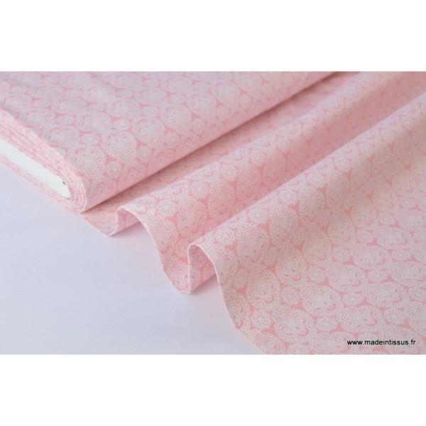 Tissu Coton imprimé dessin enfants minimini rose - Photo n°2