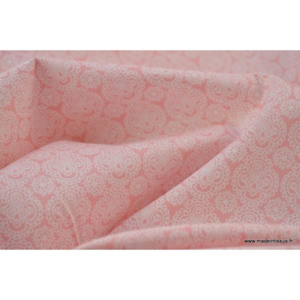 Tissu Coton imprimé dessin enfants minimini rose - Photo n°4