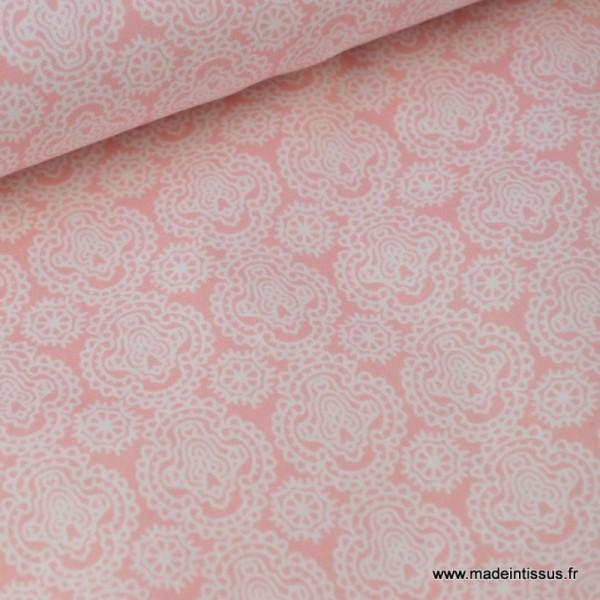 Tissu Coton imprimé dessin enfants minimini rose - Photo n°1