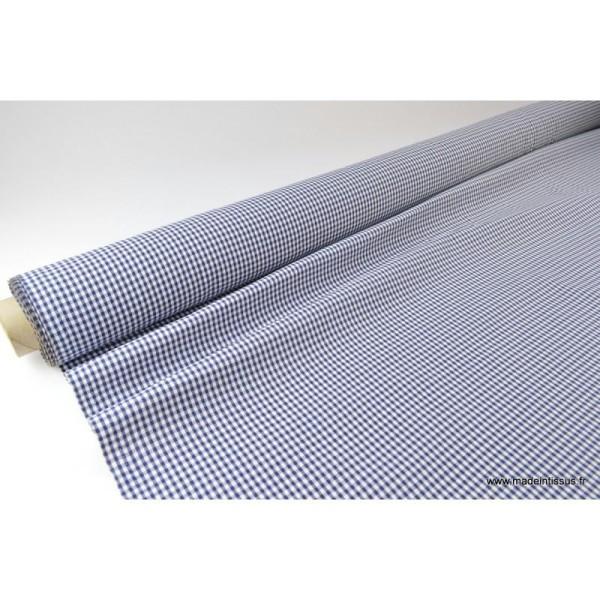 Tissu vichy polyester coton marine et blanc .x1m - Photo n°2
