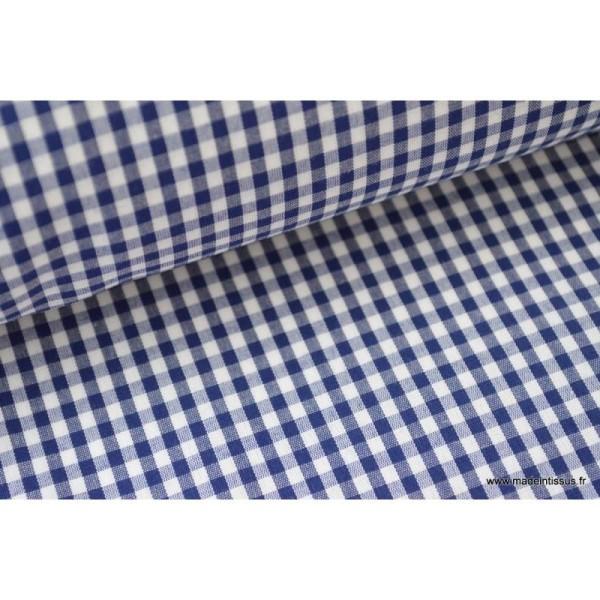 Tissu vichy polyester coton marine et blanc .x1m - Photo n°3
