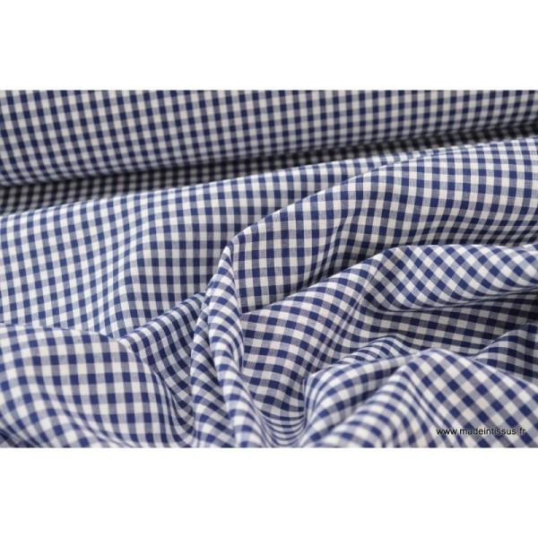 Tissu vichy polyester coton marine et blanc .x1m - Photo n°4