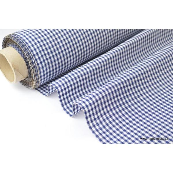 Tissu vichy polyester coton marine et blanc .x1m - Photo n°1