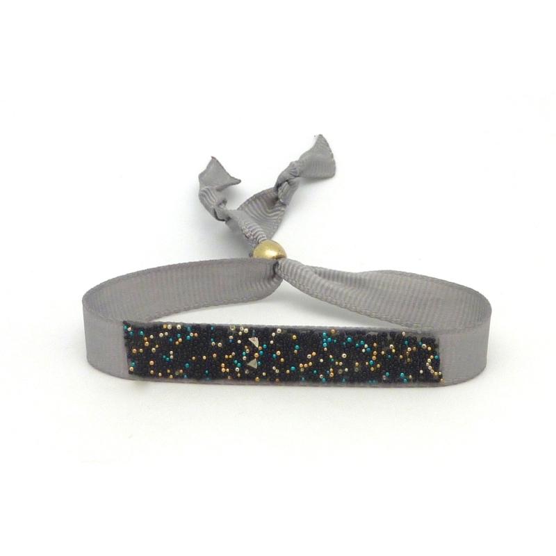 Kit de cr ation bracelet ruban gris clair ajustable et microbilles multicolore thermocollante - Bracelet perle et ruban ...