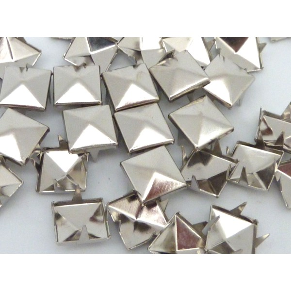 40 Clous Pyramides Carré Griffe 10mm En Métal Argenté Clou