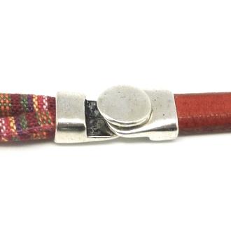 Fermoir Crochet Pastille Bouton Pour Cuir Regaliz Ou 2 Cordons De 6mm En Métal Argent&eacute