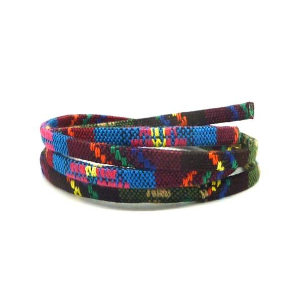 70cm Lanière Ethnique, Cordon Plat Ethnique En Coton Tissé 5mm - Multicolore Dominante Kaki, Marro - Photo n°1