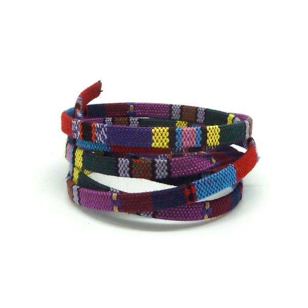 70cm Lanière Ethnique, Cordon Plat Ethnique En Coton Tissé 5mm - Multicolore Rayé Multicolore Vio - Photo n°1