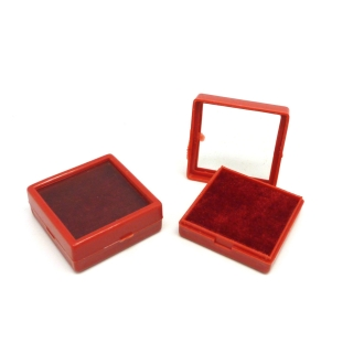Lot De 5 Petits écrins Carré, Boite De Rangement En Plastique 4cm X 4cm X 1,5cm Rouge