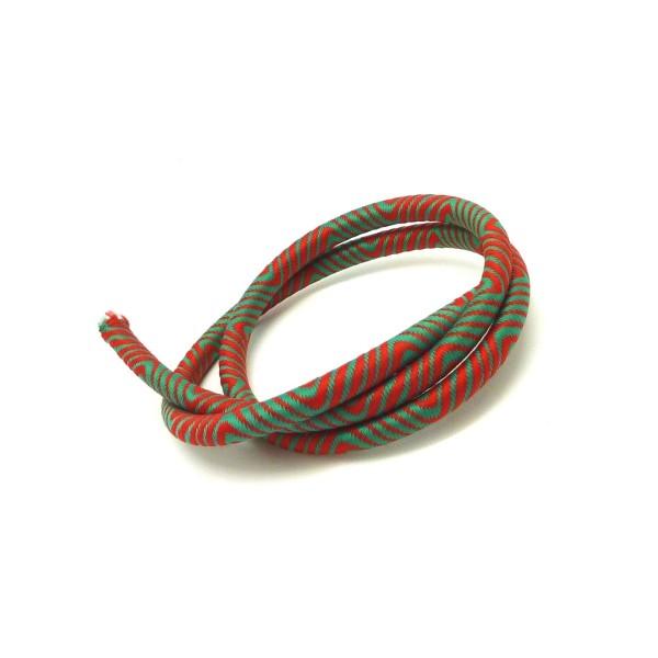 50cm Cordon 5mm En Nylon Tissé Autour D'un Cordon Plastique Embout Creux De Couleur Vert Et Rouge - - Photo n°2